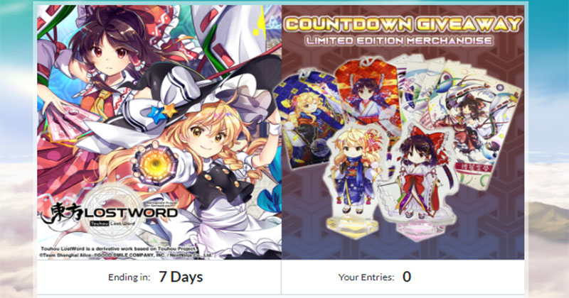 Touhou Lost word Countdown Giveaway started - 03rd of May 2020