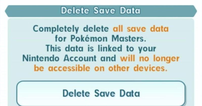 Pokémon Master Delete Save Data