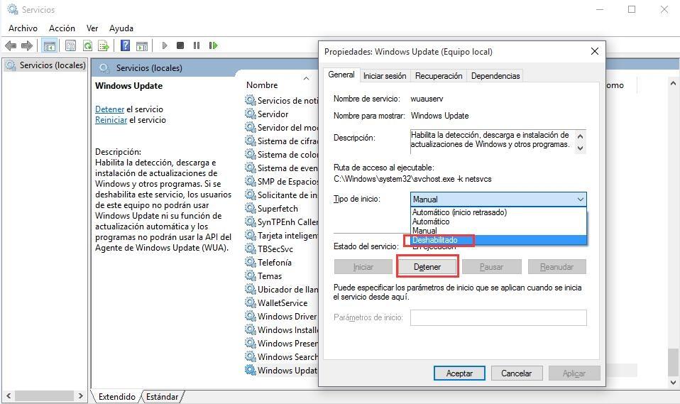 ¿Cómo deshabilitar la actualización de Windows en Windows 10?