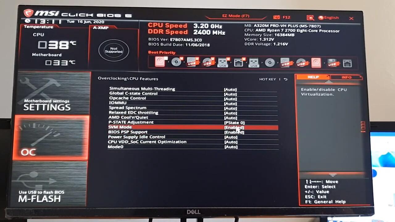 Habilitar Tecnologia de Virtualização (VT) - MSI